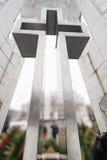 Huge metallic cross monument Stock Images