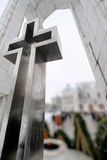 Huge metallic cross monument Royalty Free Stock Image