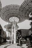 Huge metallic mushrooms on Bluewater Island in Dubai royalty free stock photo