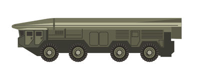 Huge military vehicle with armored corpus isolated illustration vector illustration