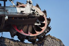 Huge mining machine. In the coal mine Royalty Free Stock Photography