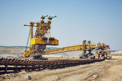Huge mining machine. In the coal mine Stock Photo