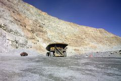 Huge mining truck. A picture of a big mining truck taken at a copper mine contrasts with a normal pick-up Royalty Free Stock Photos