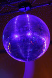 Huge mirrorball/disco ball. Blue shining disco ball stock photo