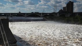 Huge Mississippi River in Minneapolis, MN, USA stock video