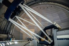 Huge modern professional astrophysical telescope under dome of observatory.  stock photo