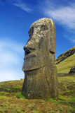 Huge Monolith at Easter Island. Standing Moaia at Rapa Nui, Easter Island. These Monoliths were taken at the Rano Raraku quarry Stock Photos