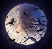 Huge moon with flying witch Stock Photo