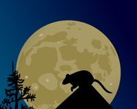 A huge moon glows. The silhouette of the rat on the roof. A huge moon glows in the night sky. The silhouette of the rat on the roof vector illustration Stock Photos