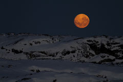 Huge moon in the night sky over one of the Antarctic Royalty Free Stock Photography