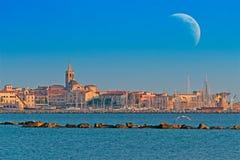 Huge moon over Alghero stock image