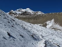 Huge moraine on the way to Thorung La Pass Royalty Free Stock Photography