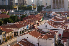 Huge Mosque along historical street with shop houses Royalty Free Stock Photos