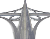 Huge motorway crossroads perspective view Stock Images