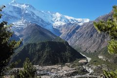 Huge mountain valley in nepal himalayas Stock Photos