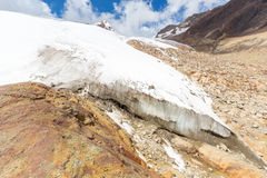 Huge mountains frozen  glacier melting global warming, Bolivia landscape. Stock Images