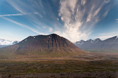 Huge mountains in Iceland in wonderful light Stock Photos