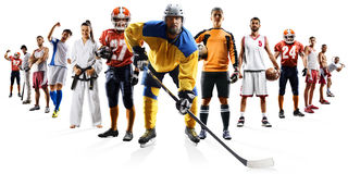 Huge multi sports collage soccer basketball football hockey baseball boxing etc. Huge multi sports collage karate volleyball running athletics dirt bike Royalty Free Stock Images