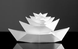 Huge multideck white paper boat Royalty Free Stock Photos