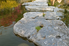Huge natural step stone path way to walk on water pond garden at Royalty Free Stock Photos