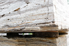 Huge natural stone material on wooden pallets Royalty Free Stock Photo