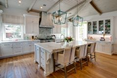 Huge new kitchen with dining island Stock Image