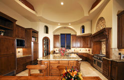 Huge New Mansion Home Kitchen stock photo