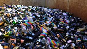 Huge number of empty wine bottles in the dumpster. HELSINKI, FINLAND - MAY 1, 2017: Huge number of empty wine bottles in the dumpster during the celebration of stock video footage