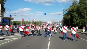 A huge number of fans of the national team of Peru is in the direction of Saransk stadium for the match against Denmark stock footage