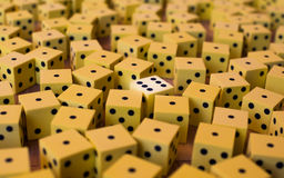 Huge number of yellow dice Stock Photos