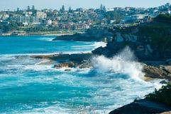 Bondi Beach, Australia. Huge ocean swell bringing in big waves in Bondi Beach Australia Royalty Free Stock Photos