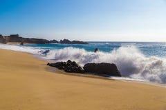 Huge ocean waves crushing on rocks in Garrapata State Beach in C Royalty Free Stock Images