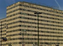 A huge post-communist office building in East Berlin stock images