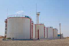Huge oil storage tanks Stock Photography