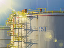 Huge oil tank in the factory Royalty Free Stock Image