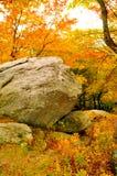 Huge old rock sits among fall colors. Stock Photos