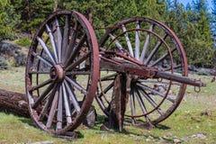 Huge old wooden wheels for logging Royalty Free Stock Images
