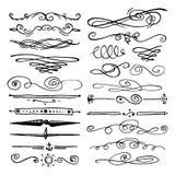 Huge pack or set engraved hand drawn in old or antique sketch style, vintage flourishes calligraphic design elements vector illustration