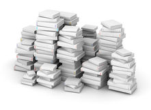 Huge pak of books. Many white books with blank title, stacked in columns stock photo
