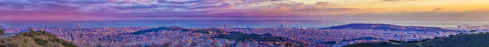 Barcelona skyline panorama extra large. Huge panorama of Barcelona skyline at dusk. More than 2 metres long royalty free stock photo
