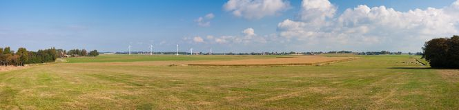 Huge panorama of the Dutch meadows stock photos