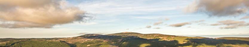 Huge panorama of the Harz with the summit of Brocken royalty free stock photography