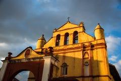 Huge Panorama of main church at San Cristobal de las Casas, Chiapas, Traveling Mexico. stock photo