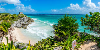 Huge Panorama of Tulum caribbean paradise and Mayan Ruins. Traveling Mexico. stock photography