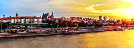 Huge Panorama in HDR Of Warsaw from the River Vistula royalty free stock photo