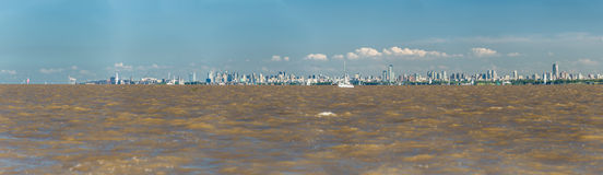 Huge Panoramic View, Buenos Aires City from the Rio de la Plata Royalty Free Stock Images