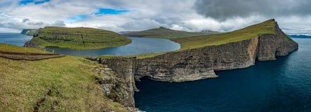 Sorvagsvatn lake over the ocean ultra wide gigapan, Faroe Islands