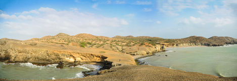 Huge Panoramic View of Guajira Desert at Colombia. Traveling Sou Royalty Free Stock Photos