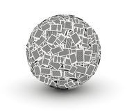 Huge paper ball from paper 3d isometry. Huge ball from paper pages on white background paperwork concept Stock Photo