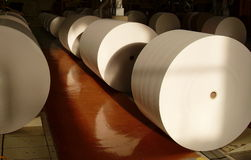 Huge paper rolls. For press newspapers offset printing stock image